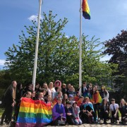 Provost Cameron with pupils from Linwood, Gleniffer and Johnstone High Schools and members of Pride Paisley