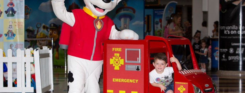 C-Jay Dickson, aged three, from Renfrew meets Marshall from Paw Patrol