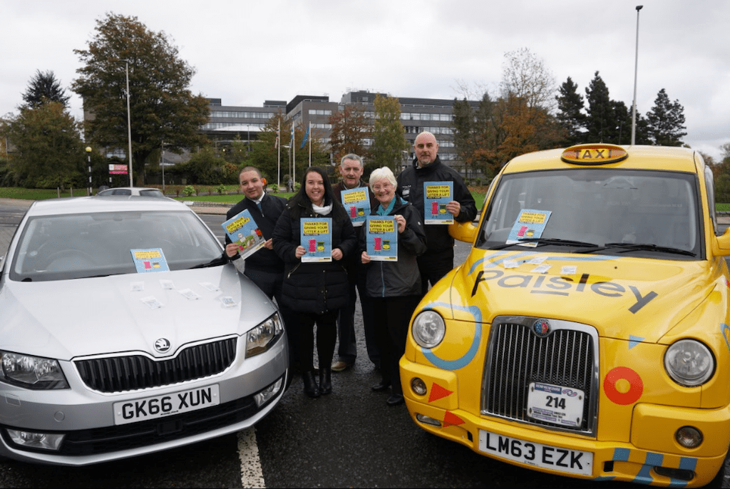 Cllr McEwan with Paisley Taxis and Renfrewshire Cabs