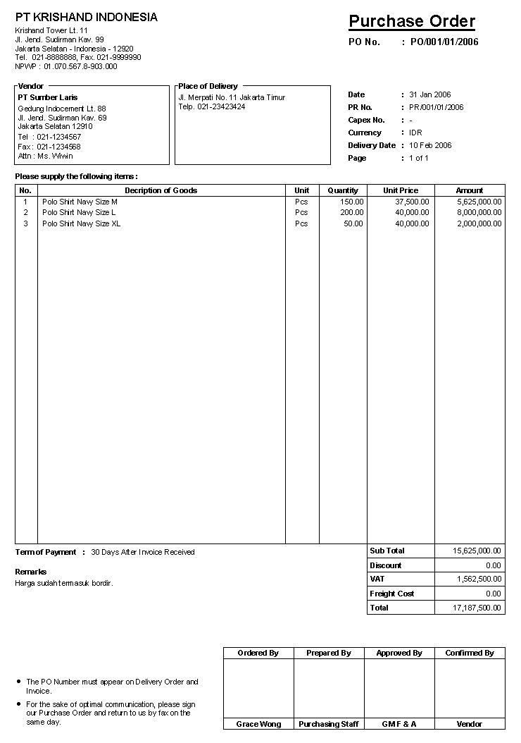 Contoh Purchase Order