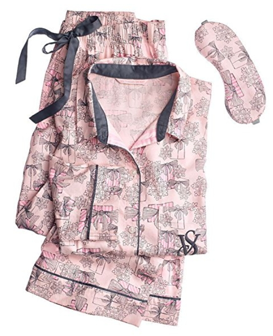 Victorias Secret 1PC Pajama Long Sleep Blue Striped Embroidered Pants Large
