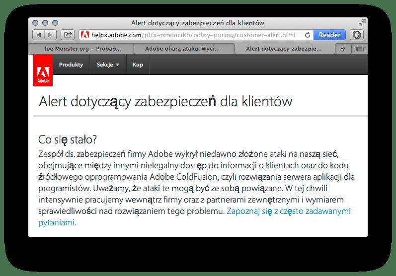Komunikat o włamaniu na strony klientów Adobe