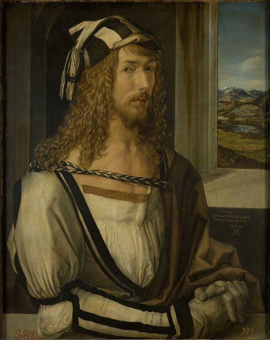 Albrecht Dürer, autoportret wstroju włoskim.