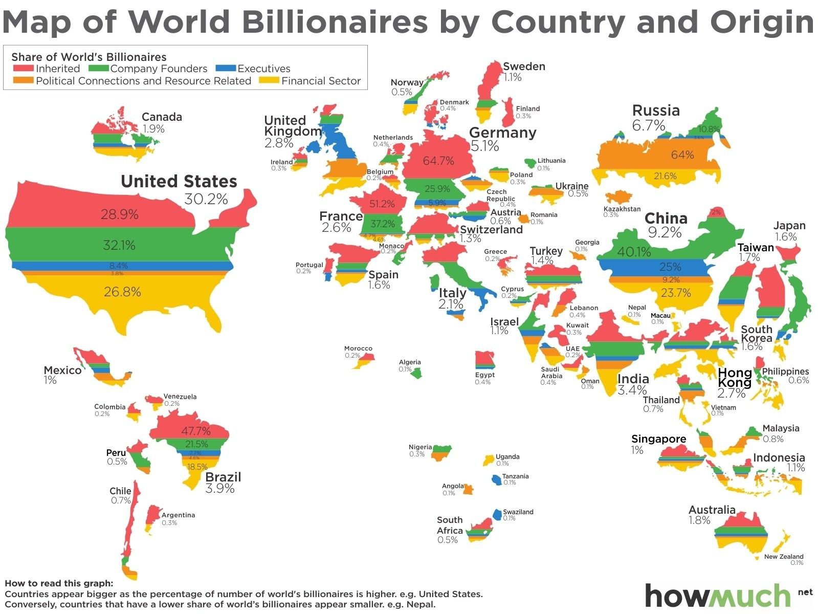 Światowa mapa miliarderów