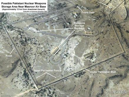 Mr. Hans M. Kristensen has published this picture of the Masroor Air force base. Mr. Kristensen claims that Pakistani nuclear weapons are stored at the base. Even if they were, surely they are gone from this site now. Masroor is near Karachi, and it is unlikely that the weapons would be stored in a densly populated area.