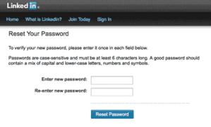 masukan password yang baru untuk linkedin