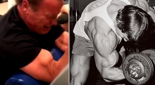 Arnold Schwarzenegger trening biceps w wieku 71 lat