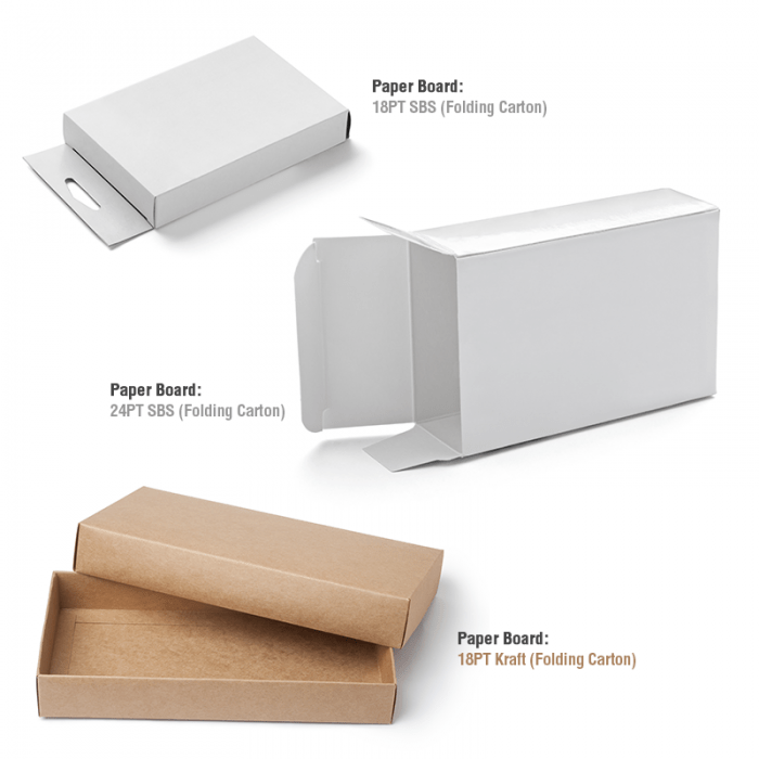 Three folding carton custom boxes made from paperboard.