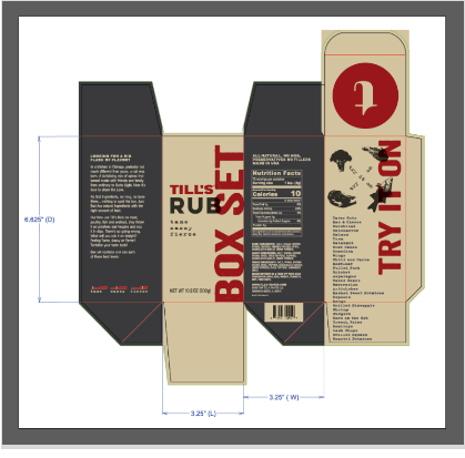 Merging the artwork with the custom packaging dieline.