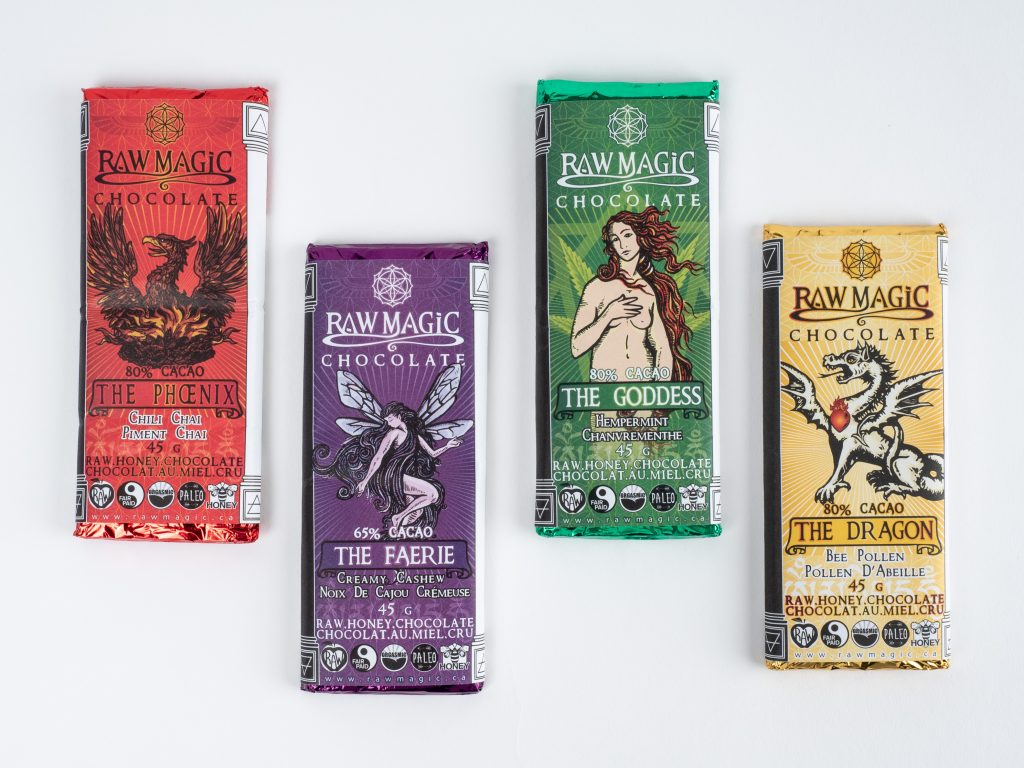 Custom chocolate packaging by Raw Magic.