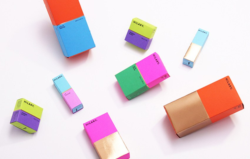 Simple custom cosmetic packaging (folding cartons) from Hilary.