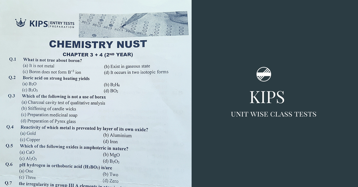 KIPS Chemistry Unit Wise Class Tests | Pakget