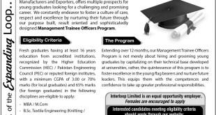 Interloop Pakistan Jobs Management Trainee Officers Program 2017 Apply Online
