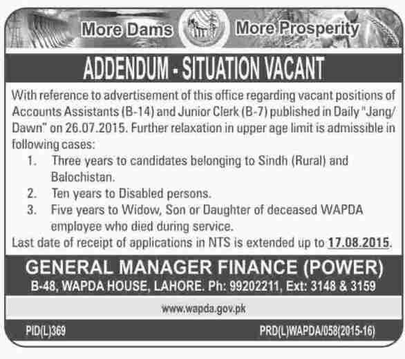 WAPDA Lahore Jobs 2019 Accounts Assistant and Junior Clerk NTS Form Download