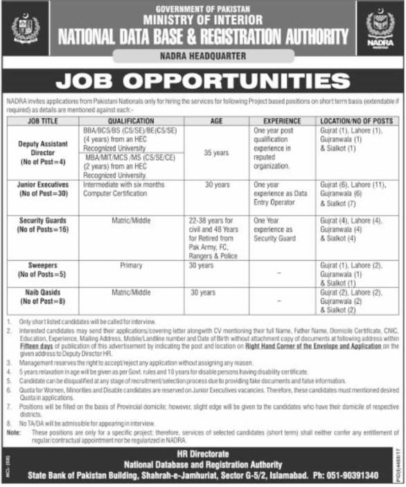 NADRA Jobs 2018 in Lahore Head Office Vacancies Application Form