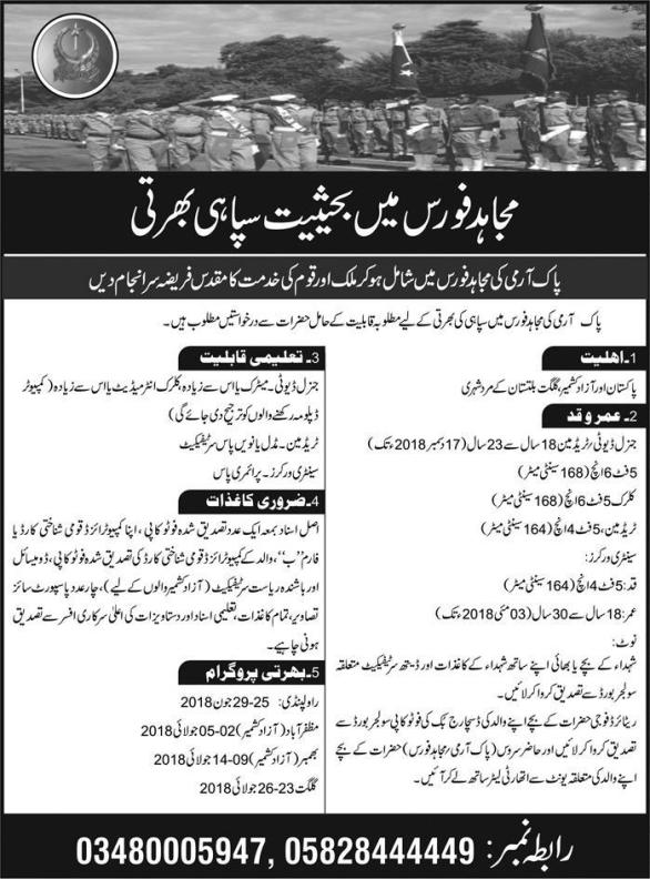 Mujahid Force Jobs 2018 Soldier Advertisement Interview Dates
