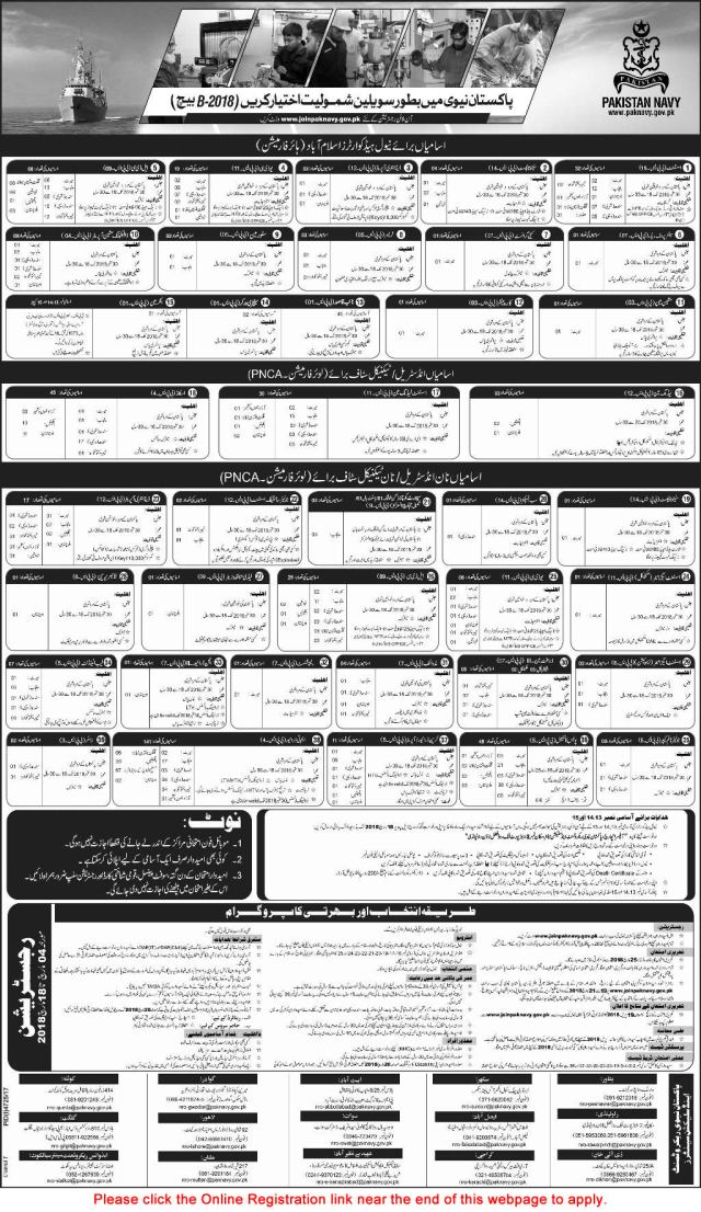 Pakistan Navy Civilian Jobs 2018 March Online Registration Join in 2018-B Batch Latest / New