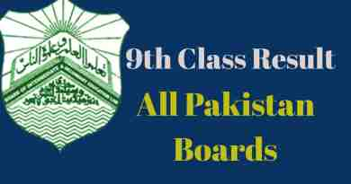 9th class result- All Pakistan Boards