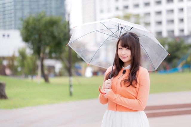 雨の中、今日の天気を伝えるお姉さん雨の中、今日の天気を伝えるお姉さん [モデル:茜さや]