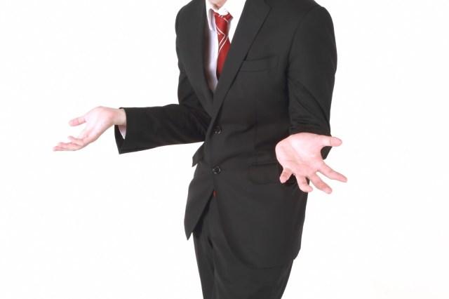 「「why?」のジェスチャーをするビジネスマン「why?」のジェスチャーをするビジネスマン」のフリー写真素材を拡大