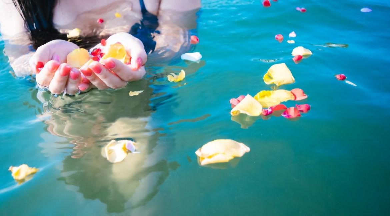 「水面に浮く鮮やかな花びらと女性の手」の写真