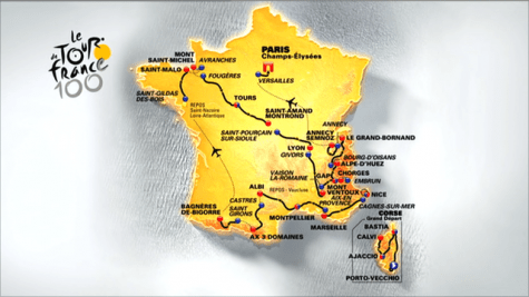 2013 Tour de France route map