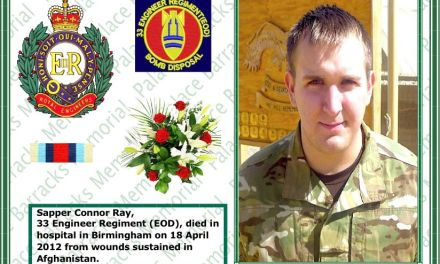 Sapper Connor Ray Royal Engineers died of wounds sustained in Afghanistan