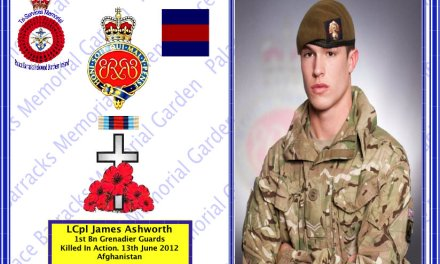 L/Cpl James Ashworth  1st Battalion Grenadier Guards  killed in Action Afghanistan 13 June 2012.