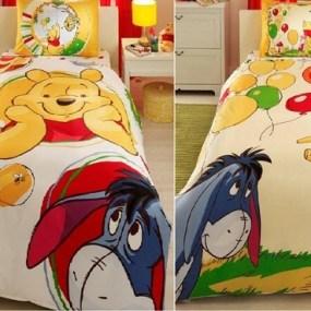 lenjerie de pat copii din bumbac Winnie Baloon - Paladin Store