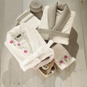 Set halate de baie si prosoape FIYONK flori roz