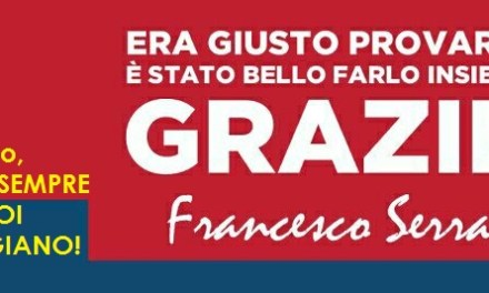 """Ciccio Serra: """" UN ANNO INSIEME…CONSENTITEMI DUE PAROLE!"""""""