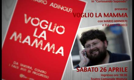 """Terzo appuntamento del caffè letterario """"Curiosando Sapendo"""" curato dall'ass.ne Luce&Sale con la presentazione del libro di Mario Adinolfi """"Voglio la mamma""""."""