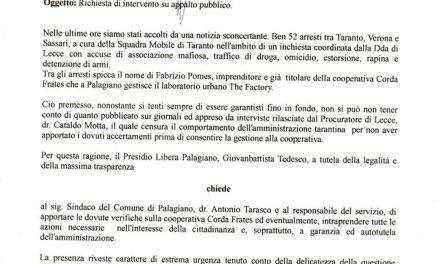 """Presidio Libera Palagiano: """"Richiesta di intervento su appalto pubblico"""""""