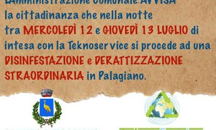 """Staff del sindaco Lasigna: """" il 12 e 13 luglio intervento di disinfestazione e derattizzazione straordinario"""""""