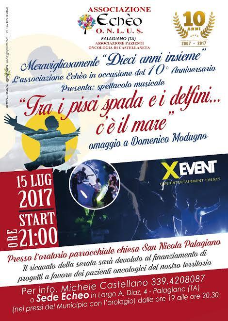 Ass. Echeo: Festa dei 10 anni con uno spettacolo dedicato a Modugno