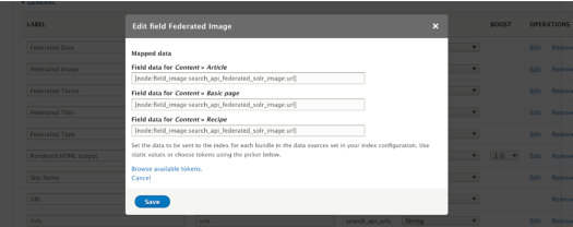 Edit field Federated Image