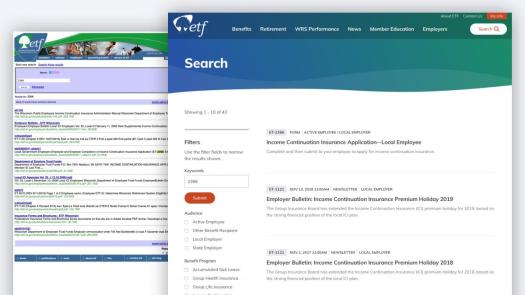Before and after of ETF site search