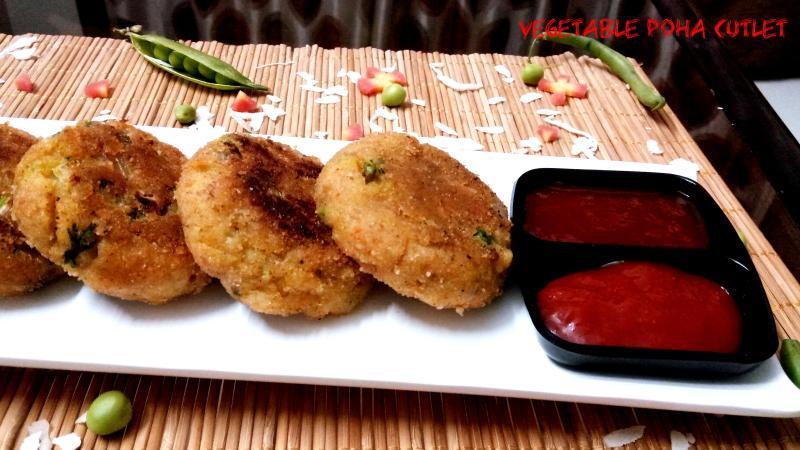 Vegetable Poha Cutlet Recipe | Easy Poha Cutlet Recipe