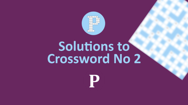 Banner image - text Solutions to Crossword No 2 - Palatinate logos and blurred image of crossword in the corner
