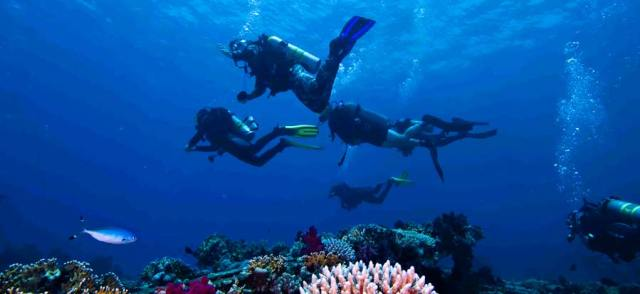 scuba refresher group with diving instructor in el nido