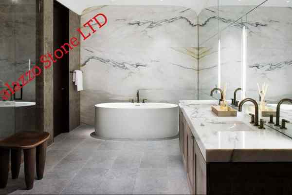 Marble bathroom wall cladding