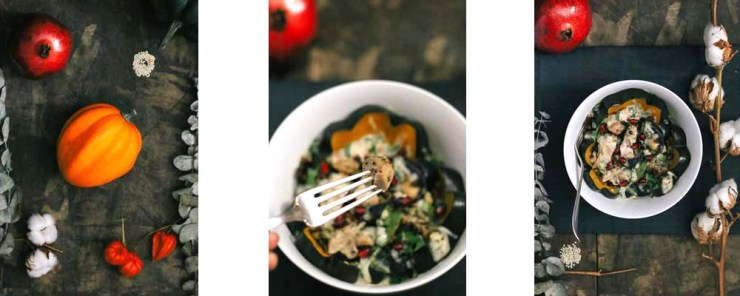 Roasted Squash, Lentil, and Chicken Bowl with Cilantro Tahini Dressing