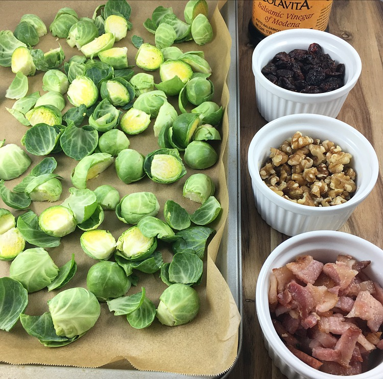 Roasted Brussels Sprouts: Bacon, Cranberries and Walnuts, Oh My!