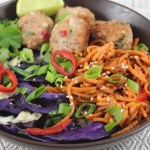 Spicy Pork Meatballs and Sesame Noodles: Paleo and Whole30