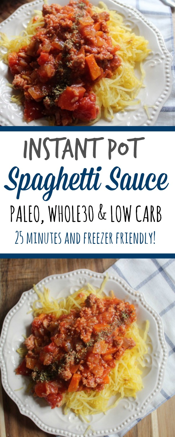 Easy paleo spaghetti sauce is made in under a half hour in the instant pot. Served over spaghetti squash, it's a simple low carb dinner. This Whole30 instant pot recipe is a family friendly favorite! #paleoinstantpot #whole30instantpot #lowcarbinstantpot #whole30beef via @paleobailey
