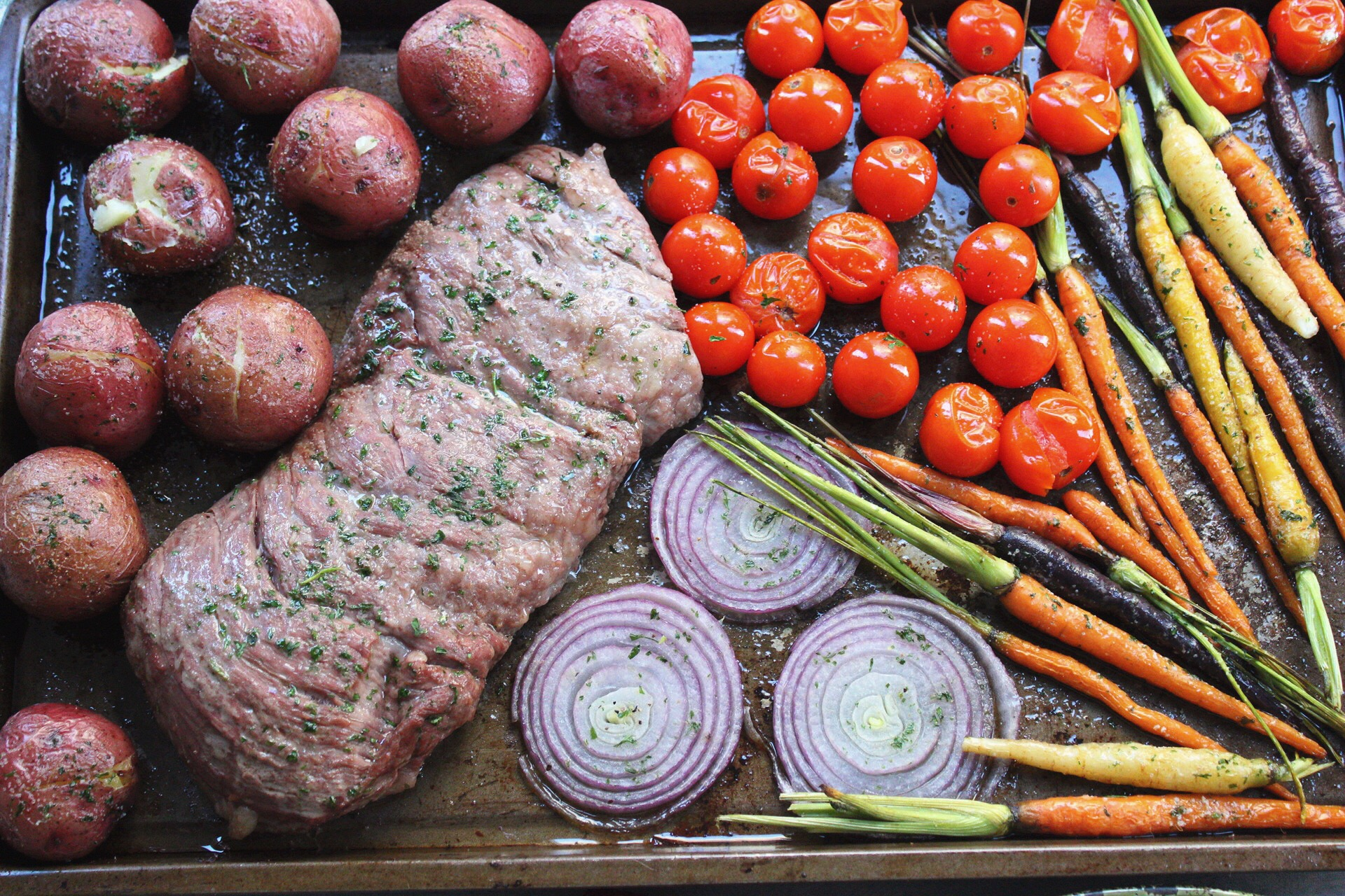 Butter Herb Steak and Veggies Sheet Pan Meal: Paleo, Whole30 & 30 Minutes!