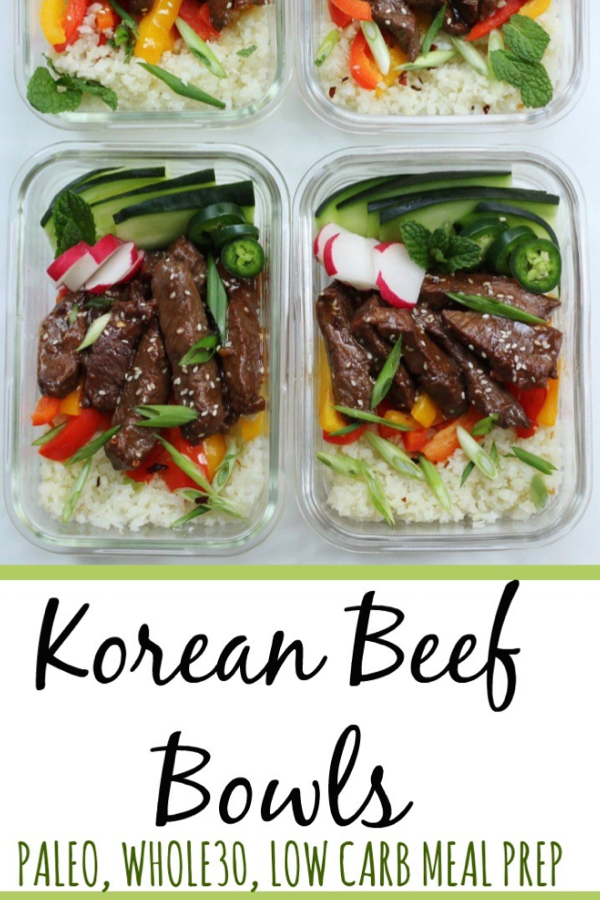 Korean beef bowls make paleo or Whole30 meal prep easy. Perfect for low carb lunches, simple dinners, or paleo meals! #beefmealprep #paleo #paleobeef #whole30beef