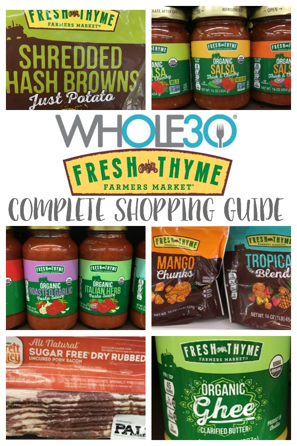 Fresh Thyme is up there for my favorite grocery store. Especially with all of the Whole30 options Fresh Thyme offers. This Whole30 Fresh Thyme shopping list will be perfect if you're doing a Whole30, eating Paleo, or just trying to clean up your diet! #whole30shoppinglist #whole30freshthyme #freshthymeshopping