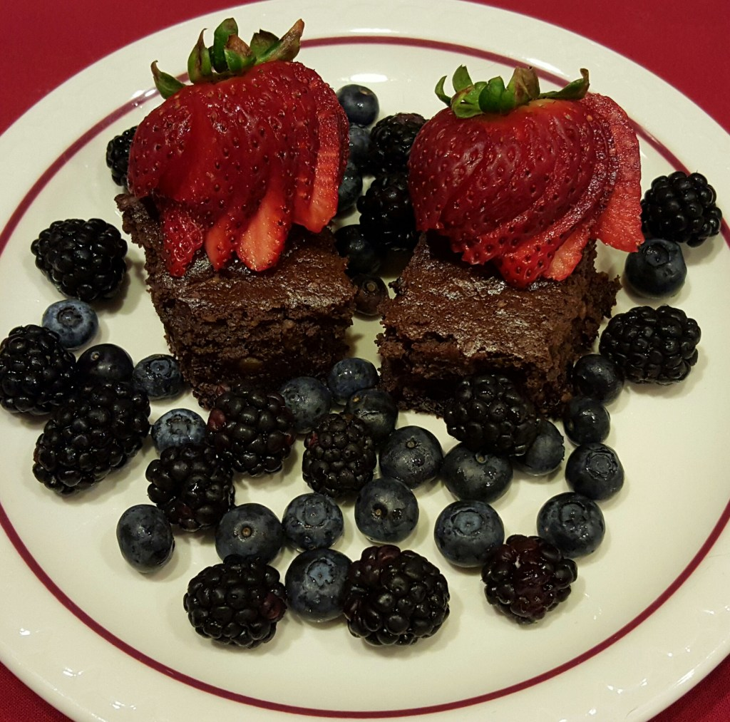 Black Forest Brownies with Fruit