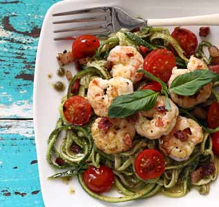 simple paleo recipe for pesto shrimp with pancetta and zucchini noodles